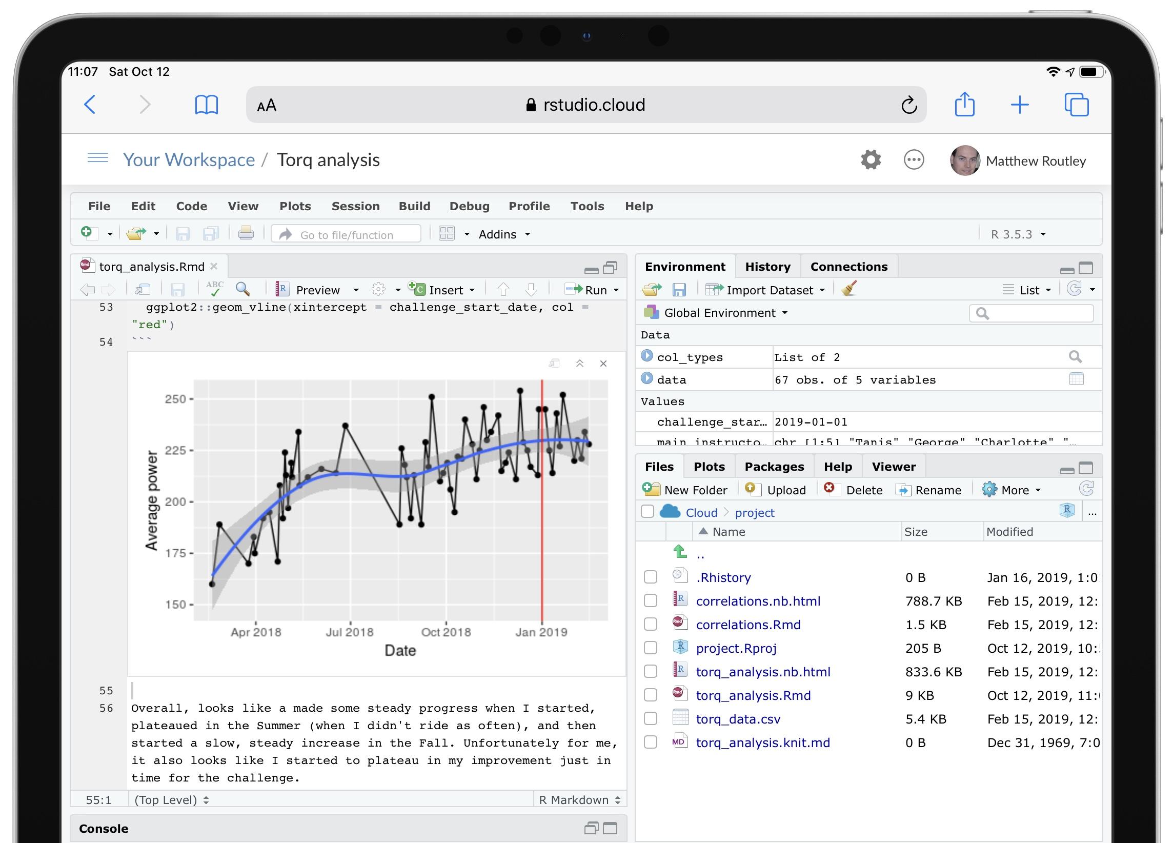 A screenshot of RStudio Cloud on the iPad
